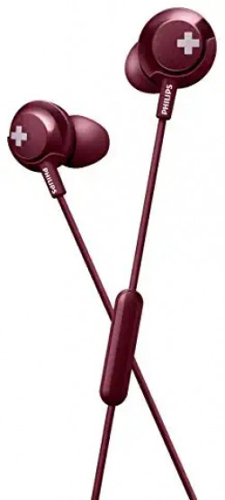 Philips Bass+ SHE4305 Headphones with Mic (Red) 66% off