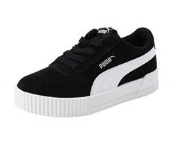 Puma Unisex Kid's Carina PS Black White Leather Sneakers-12 UK (31 EU) (13 US) (37053301)
