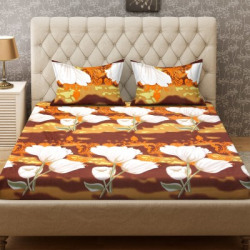 Bombay Dyeing 136 TC Polyester Double Floral Bedsheet(Pack of 1, Brown, White)