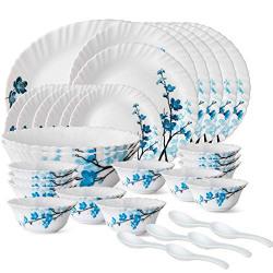 Larah by Borosil Opalware Dinner Set, 33 Pcs, White, New Design (Mimosa)