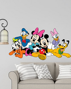 RNG Disney Cartoon Group Mickey Mouse,Minnie Mouse, Donald Duck Wall Stickers(114 x 60cm