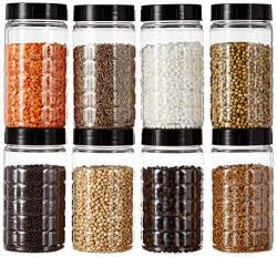 Amazon Brand - Solimo Spice Jar, 200 ml, Set of 8, Black, Plastic