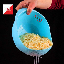 Big Size Rice Pulses Fruits Vegetable Noodles Pasta Washing Bowl & Strainer Good Quality & Perfect Size for Storing and Straining by - PALAK (Blue)