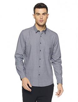 True Blue Men's Printed Slim Fit Casual Shirt (2031725579_Navy_XL)
