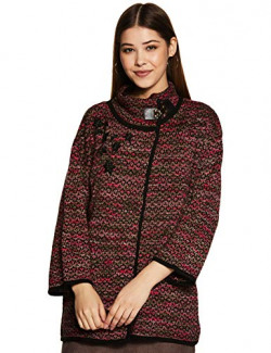 Park Avenue Women's Synthetic Cardigan (PWWP00636-R886_Dark Red_86)