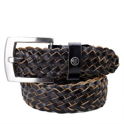 Bacca Bucci Men Braided Woven Genuine Leather Belt with Classic Buckle-Brown