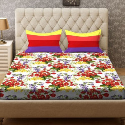 STELLAR HOME 104 TC Cotton Double Floral Bedsheet(Pack of 1, Multicolor)