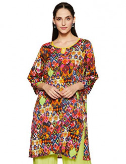 Indigo Women's synthetic Straight Kurta (SS-19/IND-1062_ Orange_ X-Large)