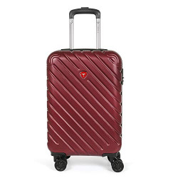 Traworld Bianca Premium ABS 20 Inch / 50.8 cm Burgundy Hardside 8 Wheels Spinner Cabin Travel Trolley Luggage Suitcase with Combination Lock