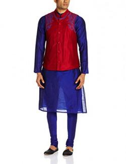 90% off: SvanikMen's Synthetic Kurta Pyjama (SVJST1447_Large_Navy Blue and Red)