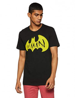Batman by Free Authority Men's Printed Regular Fit T-Shirt (BM0GMT54_Black Slub_X-Large)