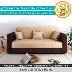 Casafurnish Livingud 3 Seater Sofa (Cream-Brown) with 36 density Foam and polyster fabric ( Cream-brown) | Life of 5+ years | Solid Wood Kapoor Frame | Relaxing & Comfortable Sofa | Perfect for Long Term Use