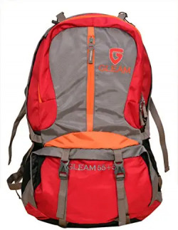 Gleam 2209 Climate Proof Rucksack/Hiking/Trekking Bag/Backpack 60 Ltrs Red & Grey with Laptop Sleeve & Rain Cover