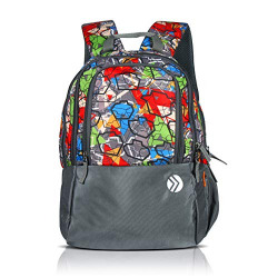 OPTIMA Polyester Bohemian Classic Basic Water Resistant Casual Lightweight Grey Backpack for Girls for School and Travel with Bottle Side Pockets