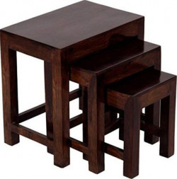 Allie Wood Sheesham Wood Solid Wood Nesting Table(Finish Color - Walnut Brown, Set of - 3)