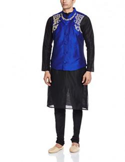 SvanikMen's Kurta Pyjama (SVJST1446_Large_Black and Blue)