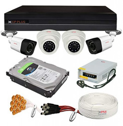 CP Plus 2.4MP 4 Camera Combo Set with 4Ch DVR, 2 Dome 2 Bullet Cameras, 1TB HDD, Power Supply, 90Mtr Cable, Audio Mic and Connectors