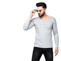 DAGCROS Men's Cotton Full Sleeve V-Neck T-Shirt-Grey