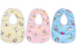 InEffable ® Bib for Infants Daily Use Super Soft Cotton Fast-Dry Printed Bibs - Set of 3  (Multicolo)
