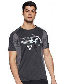 Ajile By Pantaloons Men's Printed Slim fit T-Shirt (110053352_Black M)