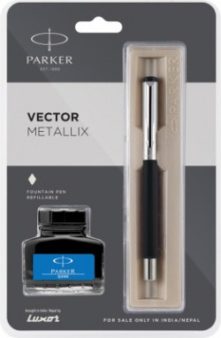 Parker vector metallix black (f)with quink Fountain Pen