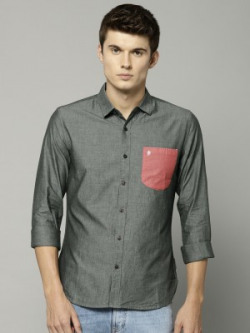 French Connection Men Color Block Casual Grey Shirt