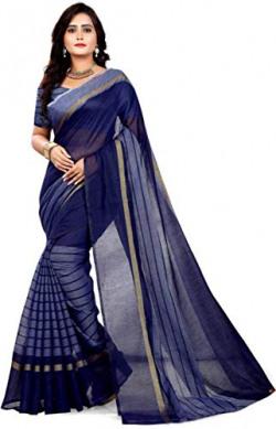 RD Creation Women's Chanderi Chanderi Saree With Blouse Piece (Rustom Blue_Blue)