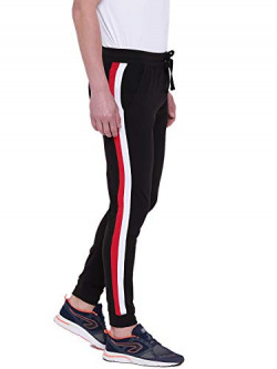 GRITSTONES Black/White/Red Cotton Joggers with Side Stripes for Men