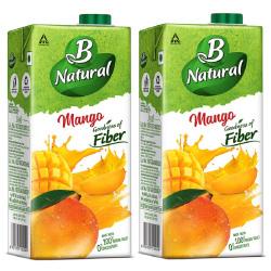 B Natural Mango Juice 1L, (Pack of 2)