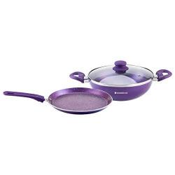 Wonderchef Orchid Non-Stick Aluminium Induction Base WD Cookware (Purple) - Set of 2