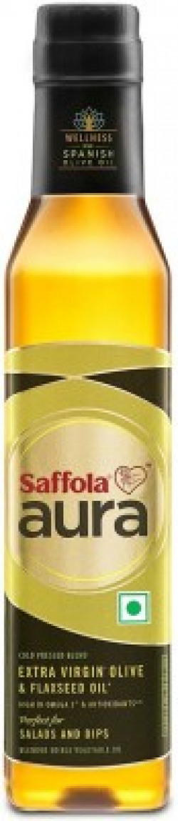 Saffola Aura Extra Virgin Olive and Flaxseed Blended Oil Plastic Bottle(250 ml)