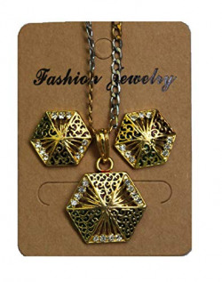 ImitationHub Diamond Gold Plated Jewellery for Girls Fashion Pendant Set with Earrings for Girls and Women