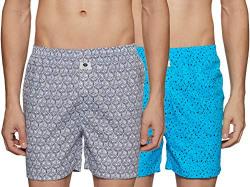 Amazon Brand - Symbol Men's Printed Boxers (Pack of 2)(SYMBXPO2-5_3846 & 3678_Black & Blue_L)