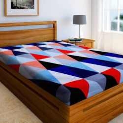 Home Elite 144 TC Microfiber Single Printed Bedsheet(Pack of 1, Red, Blue, White)