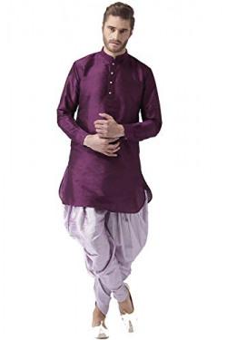 Hangup Men's Indo Western Kurta Pyjama (DarkPurplePlum_KurtaHarem_42_Multicoloured_42)