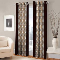 Galaxy Home Decor Curtains for Door 7 Feet Polyester, Pack of 2, Brown (Brown, Door 7 Feet)