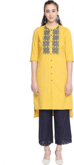 Rangmanch by Pantaloons  Women Solid Cotton Blend Straight Kurta  (Yellow)
