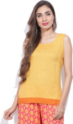 Mother Earth Casual Sleeveless Solid Women Yellow Top