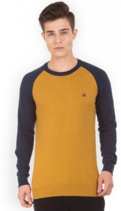 Aeropostale Solid Round Neck Casual Men Brown Sweater