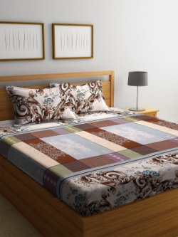 Bombay Dyeing 136 TC Polyester Double Floral Bedsheet(Pack of 1, Beige, Blue, Brown, Pink)