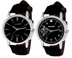 Asgard Men's Black Combo of 2 Stylish Watch