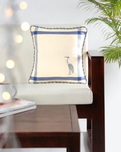 EKMATRA Hand Embroidered Handspun Khadi 16  x 16  Cushion Cover