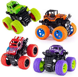 eErlik New Design Monster Truck Toys, Toddler Toys Pull Back Cars, 4-Pack Pull Back Vehicles with Shockproof Spring and Textured Rubber Tires, Friction Powered Cars Toys for Boys Girls Toddler