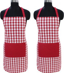Flipkart SmartBuy Cotton Home Use Apron - Free Size(Red, White, Pack of 2)
