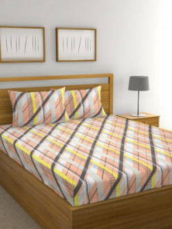Raymond Home 136 TC Microfiber Double Striped Bedsheet(Pack of 1, White, Peach, Grey, Yellow)