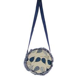 STRIPES Blue Denim Leaf Design Small Fringe Cross Body Sling Bag for Women/Girls