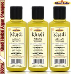 Khadi Herbal Argan Shampoo\Hair Cleanser For Deep Conditioning, Nourishment & Moisturization (Pack Of-3) Men & Women(630 ml)