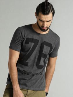 Roadster Men Charcoal Melange Printed Round Neck T-shirt