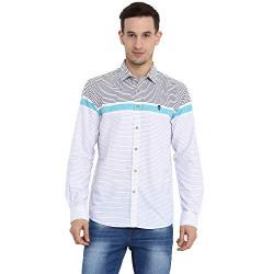 Red Tape Men's Striped Regular fit Casual Shirt (RFS0065_White Blue S)