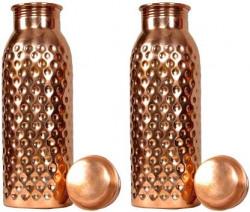 Flipkart SmartBuy Pure copper seamless hammered premium Quality 700 ml Bottle  (Pack of 2, Brown, Copper)